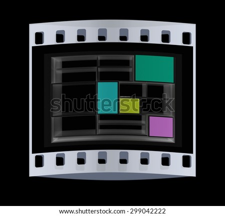 3d isolated Empty colorful bookshelf on a black background. The film strip - stock photo