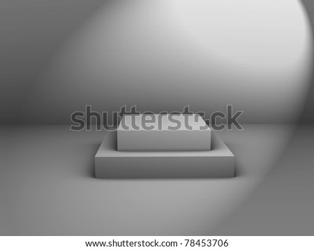 3d isolated Empty white podium on gray background - 3d illustration