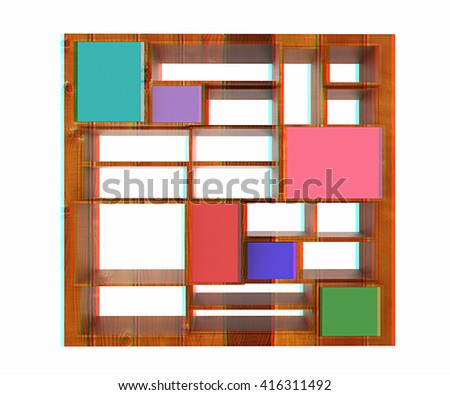 3d isolated Empty wood colorful bookshelf on a white background. 3D illustration. Anaglyph. View with red/cyan glasses to see in 3D. - stock photo