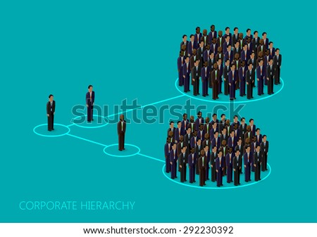3d isometric illustration of a corporate hierarchy structure. a crowd of men (business men or politicians) wearing suits and ties. leadership concept. management and staff organization - stock photo