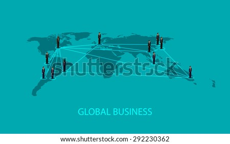3d isometric illustration of business people standing on the world global map shape. infographic global business cooperation concept. - stock photo