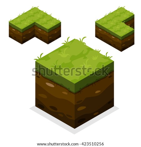 3D Isometric Landscape Cube - Ground Grass Element. Icon Can be used for Game, Web, Mobile App, Infographics. Game asset, JPG copy - stock photo