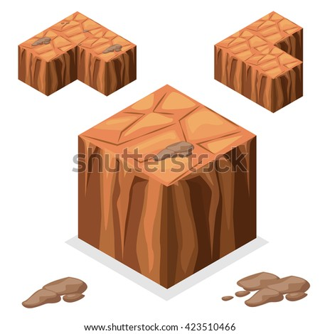 3D Isometric Landscape Cube - nature unending desert and rock Element. Icon Can be used for Game, Web, Mobile App, Infographics. Game asset, JPG copy - stock photo
