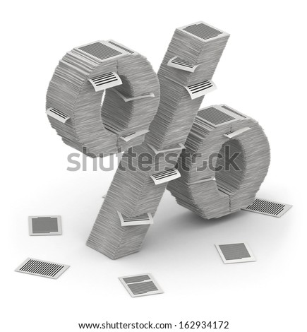 3D isometric percent sign , makes from stacks of paper pages font