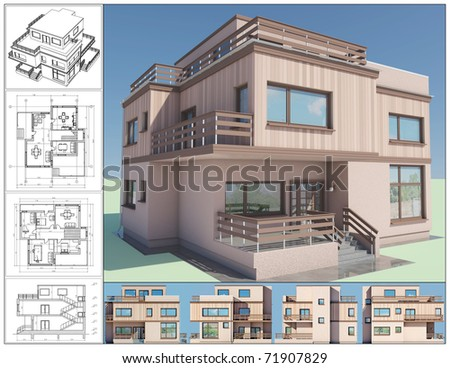 3D isometric view of abstract residential house. - stock photo