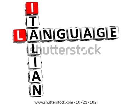 3D Italian Language Crossword on white background - stock photo