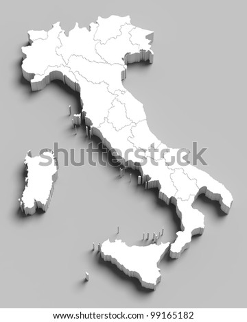 3d Italy white map on grey isolated - stock photo