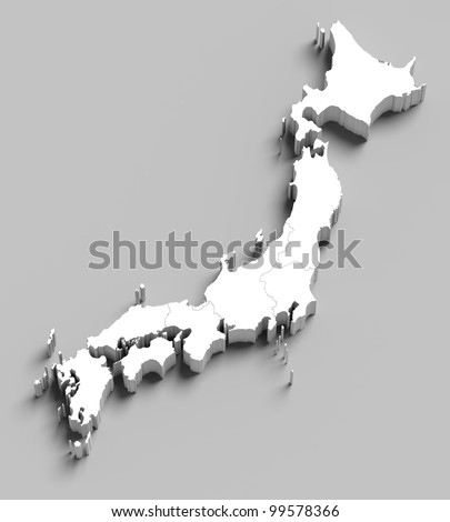 3d Japan white map on grey isolated