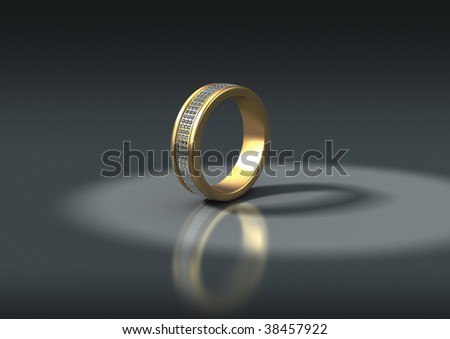 3D jewelry, gold ring with white diamonds, isolation path included in file - stock photo