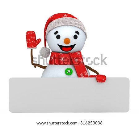 3d jolly snowman on a white background - stock photo