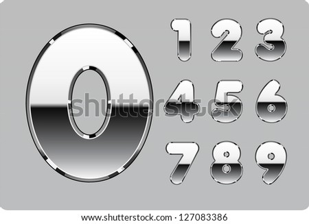 3d Joyful set of chrome metal vector numbers, from 1 to 0. - stock photo