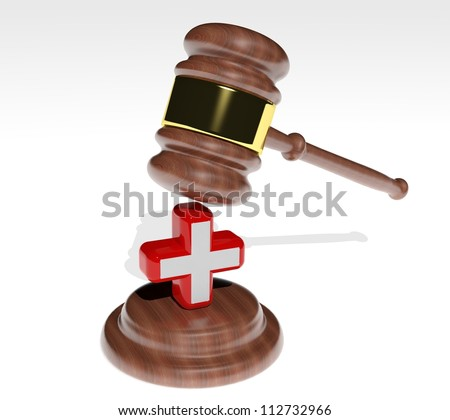 3d Judge's gavel with health cross - stock photo