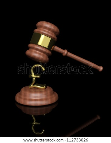 3d Judge's Gavel with pound design - stock photo