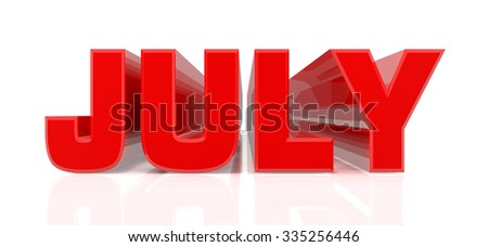 3D July word on white background 3d rendering