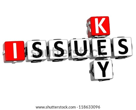3D Key Issues Crossword on white background - stock photo