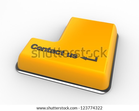3d keyboard with contact us button. 3d render - stock photo