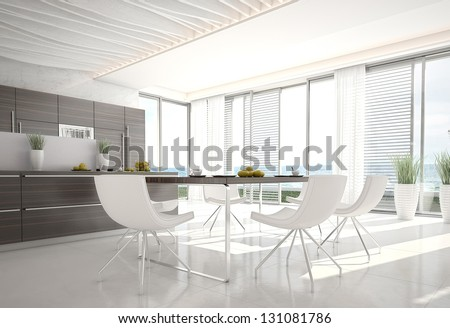 3d Kitchen / Dining Room Interior - stock photo