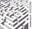 3D labyrinth symbolizing variety of ways, close view (Vector version available) - stock photo