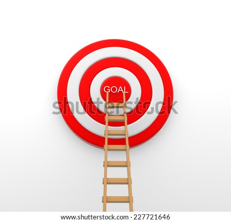 3d Ladder to middle of target on white background - stock photo