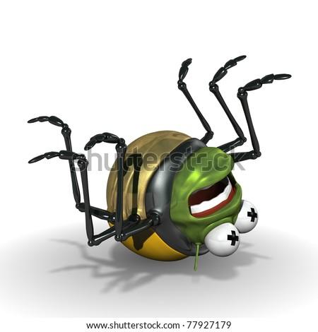 3d ladybird cartoon bug lying dead on its back - stock photo