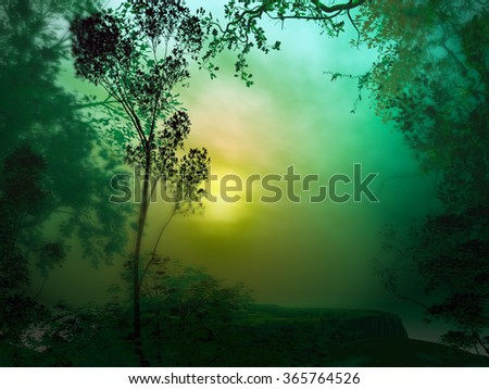 3D landscape Illustration of a forest at sunset on a very cloudy atmosphere