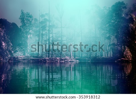 3D landscape Illustration of a lake and a forest in a serene atmosphere and very misty - stock photo