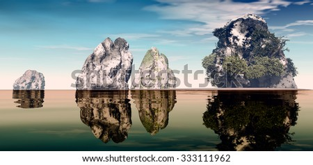 3D landscape illustration with four rock formations one with lush vegetation on serene waters - stock photo