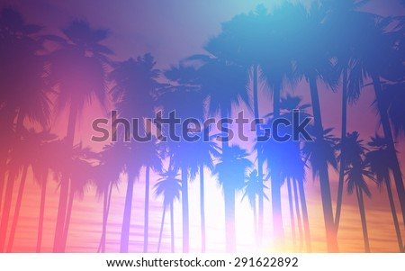 3D landscape of palm trees against a sunset sky with retro effect - stock photo
