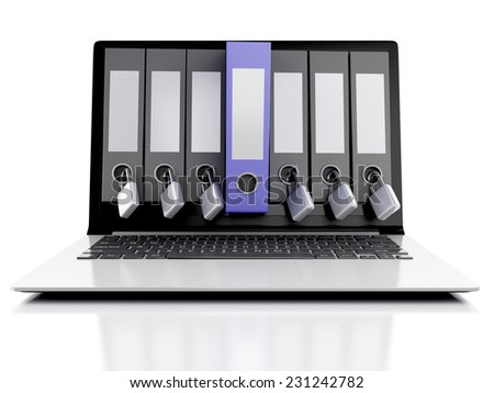 3d laptop and secret folder. Data security concept on isolated white background - stock photo