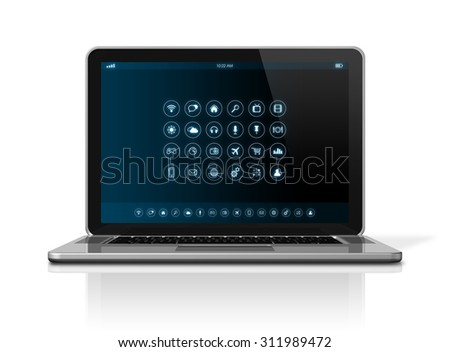 3D Laptop Computer - apps icons interface - isolated on white with clipping path - stock photo
