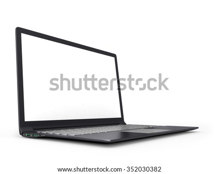 3D laptop computer isolated on white - stock photo