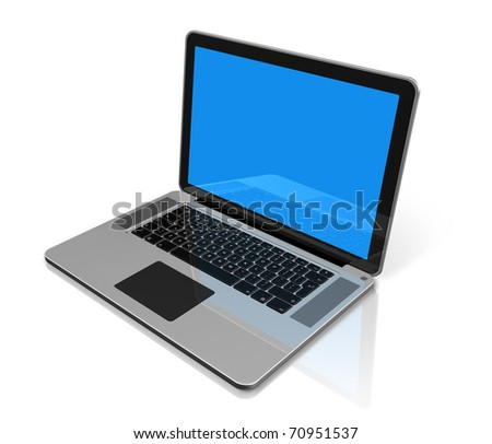 3D laptop computer isolated on white with clipping path - stock photo
