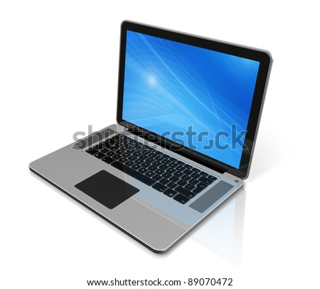 3D laptop computer isolated on white with 2 clipping path : one for global scene and one for the screen