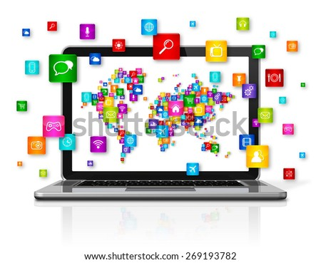 3D Laptop Computer isolated on white. World Cloud Computing concept - stock photo