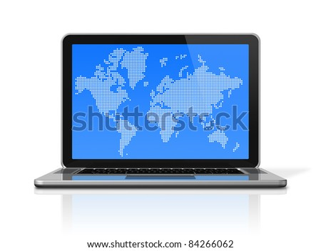 3D laptop computer with worldmap on screen. isolated on white with 2 clipping path (screen and global scene) - stock photo