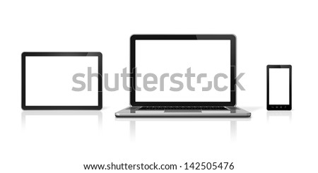 3D laptop, mobile phone and digital tablet pc - isolated on white with clipping path - stock photo
