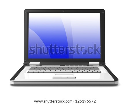 3d laptop. notebook with abstract background with, a blue screen. isolated on white background