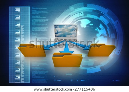 3d laptop. notebooks and folders with documents - stock photo