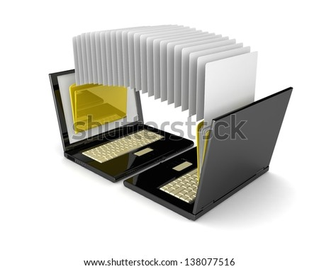 3d laptop. notebooks and folders with documents isolated on white background. Exchange of information.