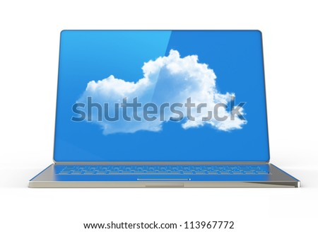 3d  laptop showing a cloud as concept of cloud computing - stock photo