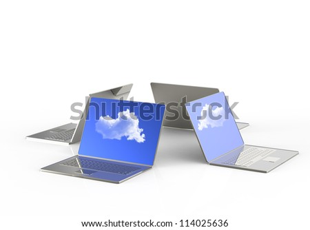 3d  laptop showing a cloud as concept of cloud computing - stock photo