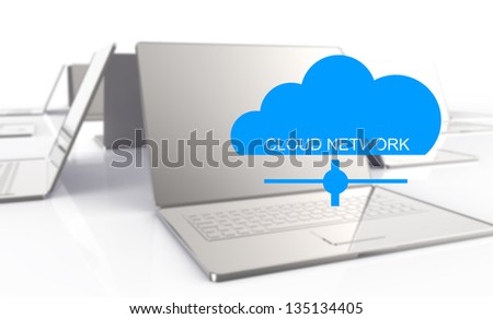 3d laptop showing a cloud as concept of cloud computing graphic design