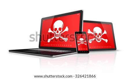 3D Laptop tablet pc and smartphone with pirate symbols on screen. Hacking concept - stock photo