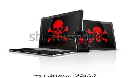 3D Laptop tablet pc and smartphone with pirate symbols on screen. Hacking concept