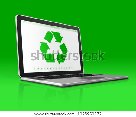 3D Laptop with a recycling symbol on screen. environmental conservation concept