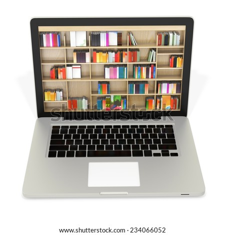 3d laptop with book shelves, digital internet library  - stock photo