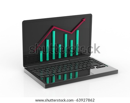3d laptop with business or profits growth bar graph