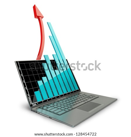 3d laptop with graph and red arrow isolated on white background. High resolution