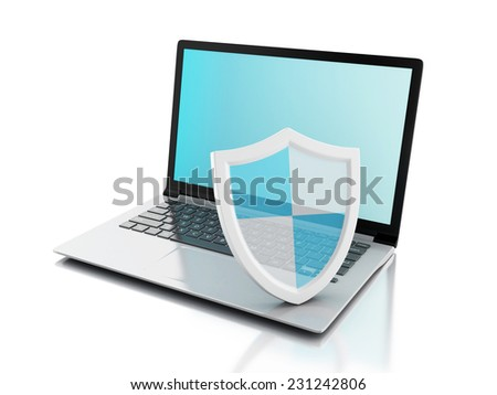 3d laptop with shield. internet security, antivirus concept on isolated white background - stock photo