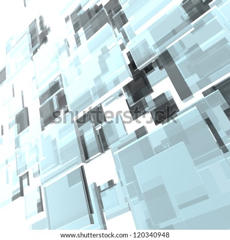 3D layered glass squares abstract background.